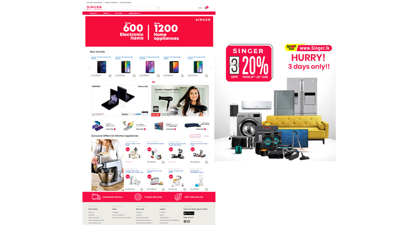 SINGER offers up to 20%  discounts on a range of  products marking the  new website launch