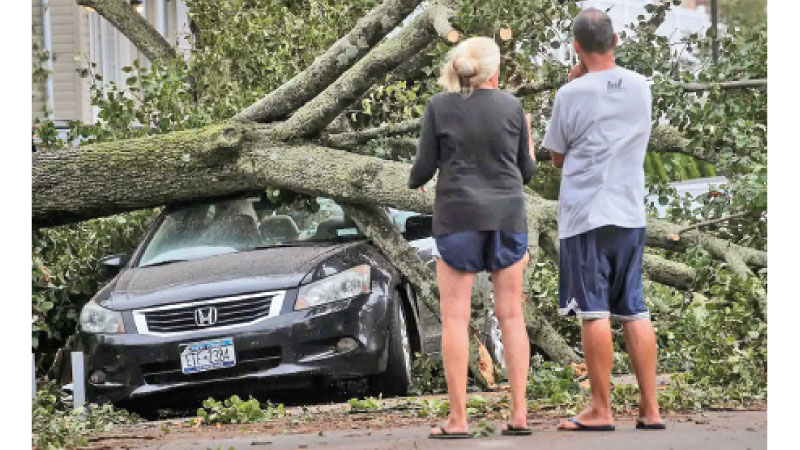 A couple observes the damage caused to their car after  Tropical Storm Isaias knocked down trees in New York City as the fast-moving storm pummeled the US East Coast.