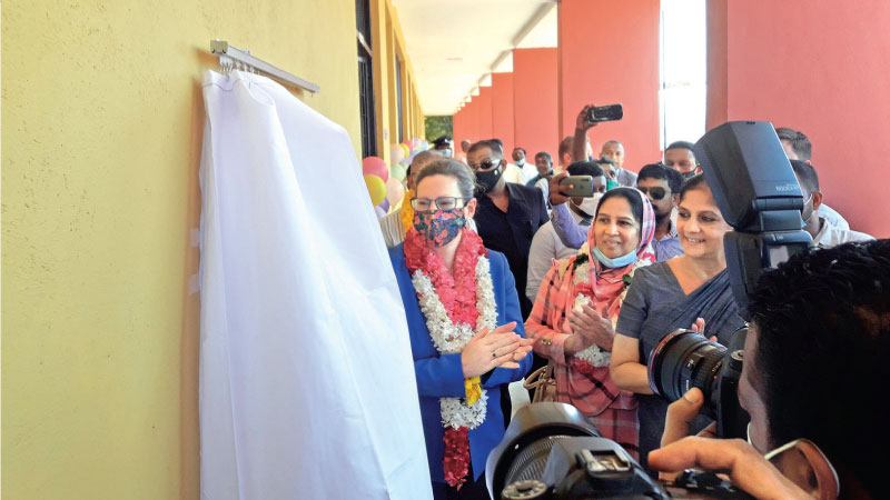 US Ambassador Alaina B. Teplitz opening the Khoonethivu Navalar School. Picture by Trincomalee District Special Corr.