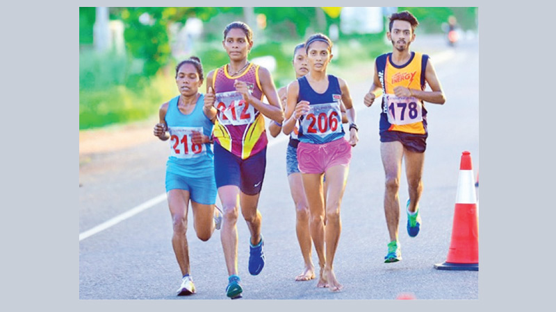 Last year's race walk event in progress at Anuradhapura.