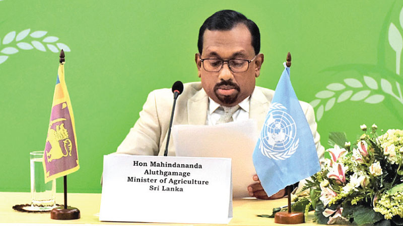 Minister Mahindananda Aluthgamage addressing the FAO Asia-Pacific Regional Conference.