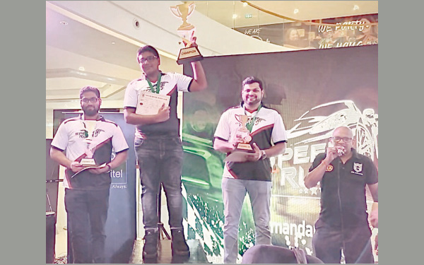 From left to Right Viren Boteju, Calvin Kingsley, Riyaz Hafrath and Niroshan Pereira President of Ceylon Motor Sports Club