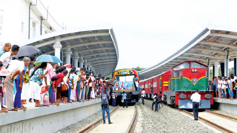 The trains arriving at the Beliatta railway station.