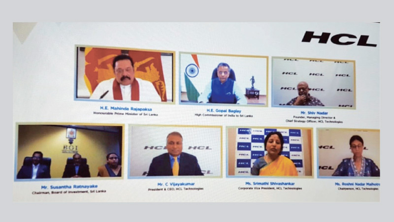 Prime Minister Mahinda Rajapaksa and India High Commissioner Gopal Baglay and other stakeholders participating in the webinar inauguration.