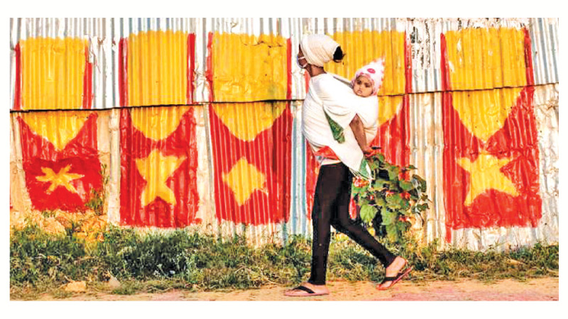 The Tigray regional flag on a fence in Mekele, northern Ethiopia.
