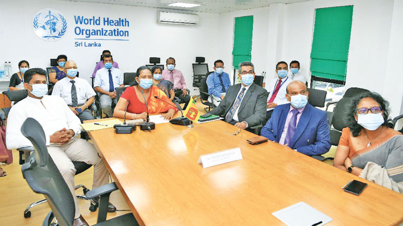 Health Minister Pavithra Wanniarachchi addressing the 73rd WHO Regional Committee for the South East Asian Region- Inaugural Intervention while Pharmaceutical Production, Supply and Regulation State Minister Prof. Channa Jayasumana and Health Ministry officials look on.