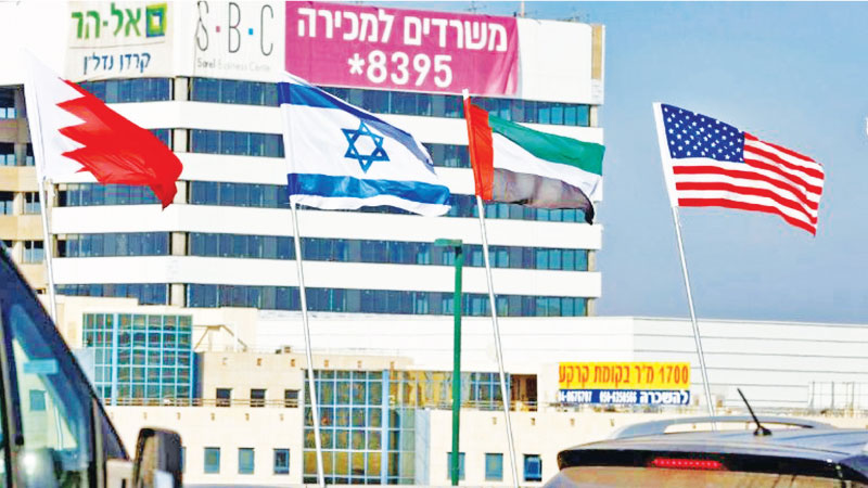 The national flags of Bahrain, Israel, the United Arab Emirates, and the United States are flown along a road in Israeli resort city of Netanya after the two Gulf countries agreed to normalise ties with the Jewish state.