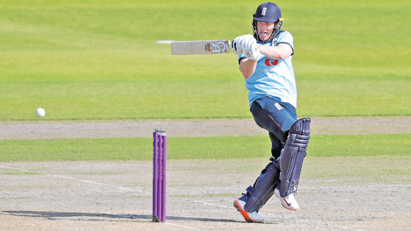 England's Captain Eoin Morgan bats during the one-day international (ODI) cricket match between England and Australia at Old Trafford in Manchester on Sunday. - AFP