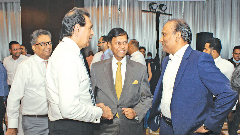 State Minister Nivard Cabraal with Softlogic Group and Sri Lankan airline Chairman, Ashok Pathirage at the event  Pic: Saliya Rupasinghe