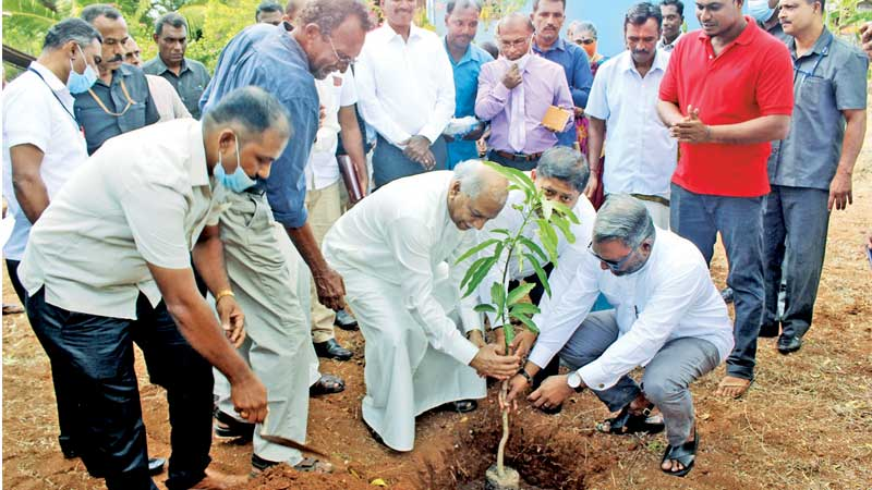 Foreign Minister Dinesh Gunawardena planting a sapling with the founder of the project Dr. Ranil Senanayake and MPs Dr. Raghavan, Yadamini Gunawardena, Cader Mastan and the local politicians.