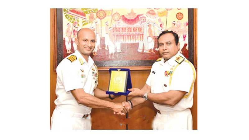 Indian High Commission Defence Advisor Captain Vikas Sood with Navy Chief of Staff Rear Admiral Kapila Samaraweera.