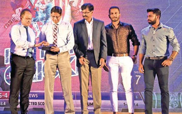 Ashley De Silva, CEO of the SLC (extreme left) along with Mohan de Silva, Secretary of the SLC launch the Sponsorship portal 'SLC-Red Bull' at a ceremony held at Cinnamon Grand Hotel last Wednesday. Others in the picture from third left to right- Brendon Kuruppu, the Global Tournament Director of Red Bull Campus Cricket, Dimuth Karunaratne, ODI and Test Captain of Sri Lanka National Team and Niroshan Dickwella, Sri Lanka National player and Red Bull athlete.