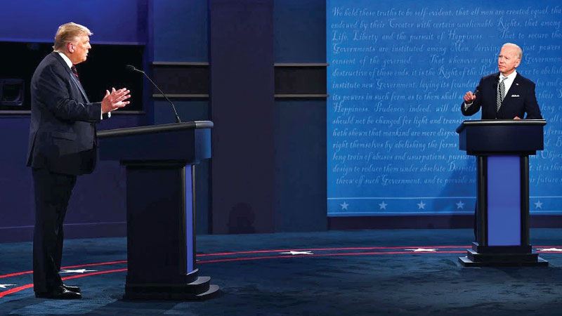 President Donald Trump and former Vice President Joe Biden participating in the first 2020 US Presidential Debate at the Case Western Reserve University, Cleveland, Ohio on September 29, 2020.