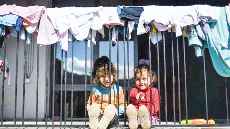 These two children put on a brave face in spite of the  heavy fighting between the Armenian and Azerbaijani forces over the disputed Nagorno-Karabakh region.