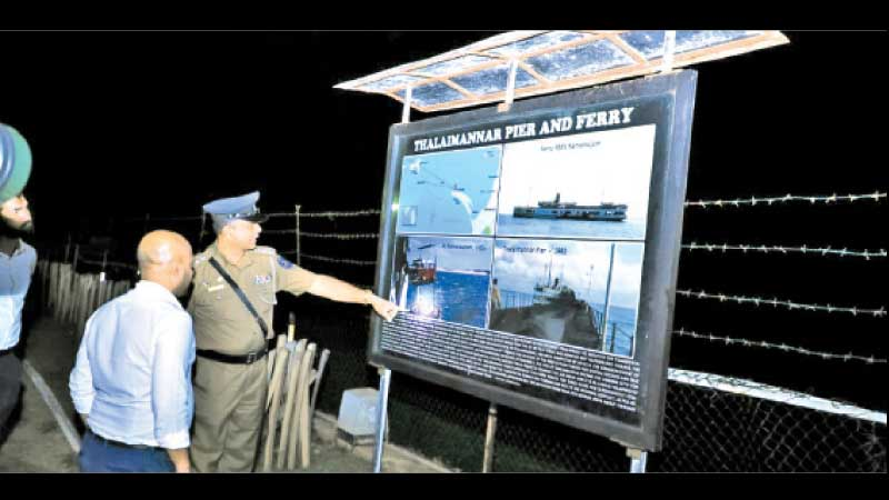 State Minister Duminda Dissanayake during the inspection tour at the Adam's Bridge in Talaimannar.