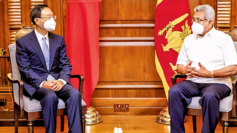 President Gotabaya Rajapaksa with top Chinese foreign policy official Yang Jiechi, in Colombo recently.