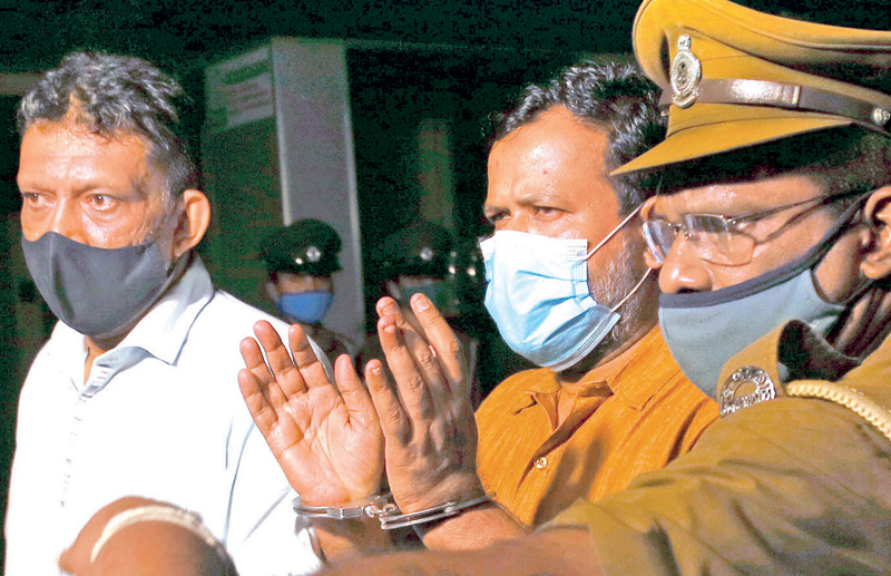 Former Minister Rishad Bathiudeen being taken to prison.  Picture by Sulochana Gamage