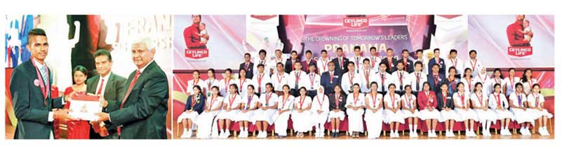 A student receives a Pranama scholarship from Ceylinco Life Chairman R. Renganathan (left image, extreme right) and some of the winners from the last batch of Pranama recipients.