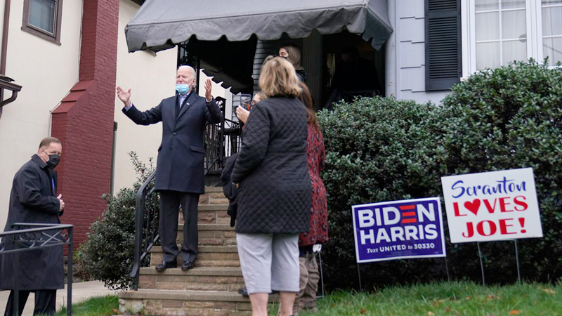Democratic Presidential candidate Joe Biden has repeatedly returned to his roots, literally and figuratively, during an 18-month campaign, including this visit to his childhood home in Scranton, Pennsylvania on Election Day.
