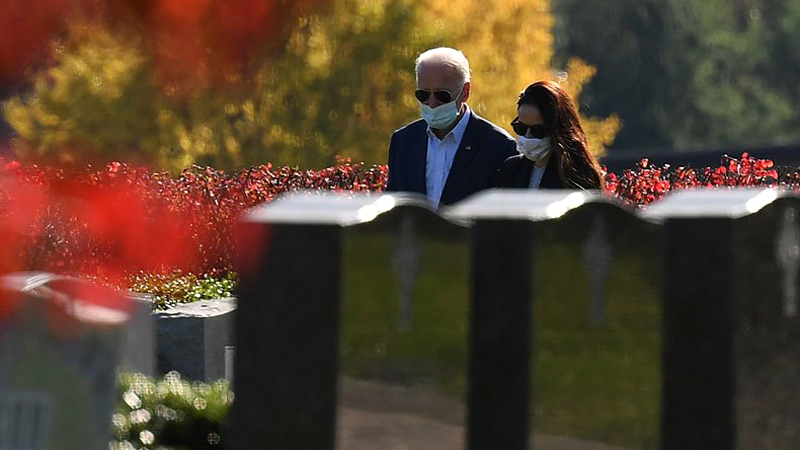 President-elect Joe Biden and his daughter Ashley Biden after visiting their family grave site in Wilmington, Delaware.