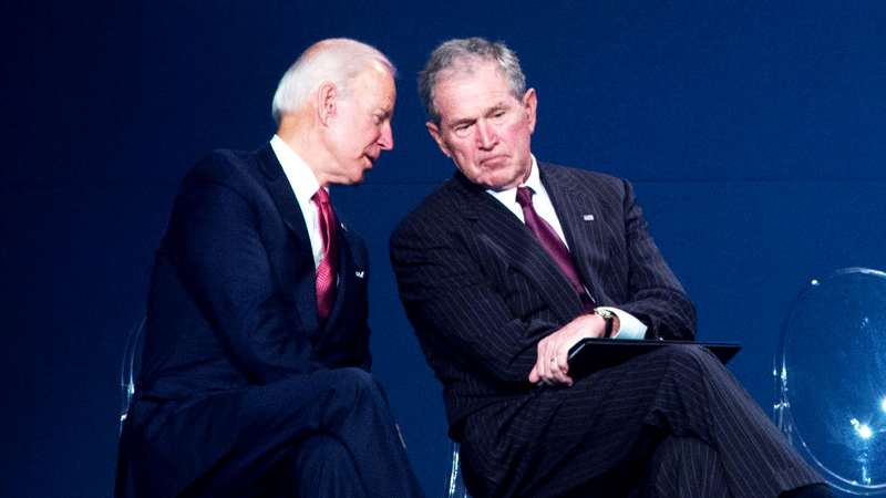 Former U.S. President George W. Bush and President-elect  Joe Biden.
