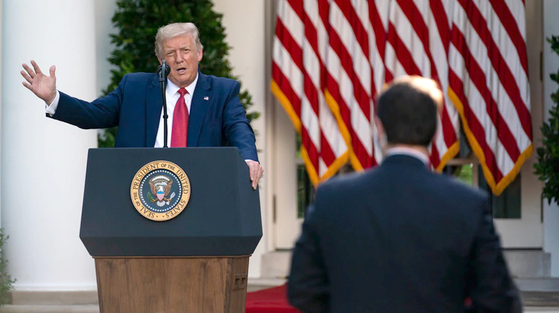 US President Donald Trump speaks during a news conference in the Rose Garden of the White House in Washington on Friday.