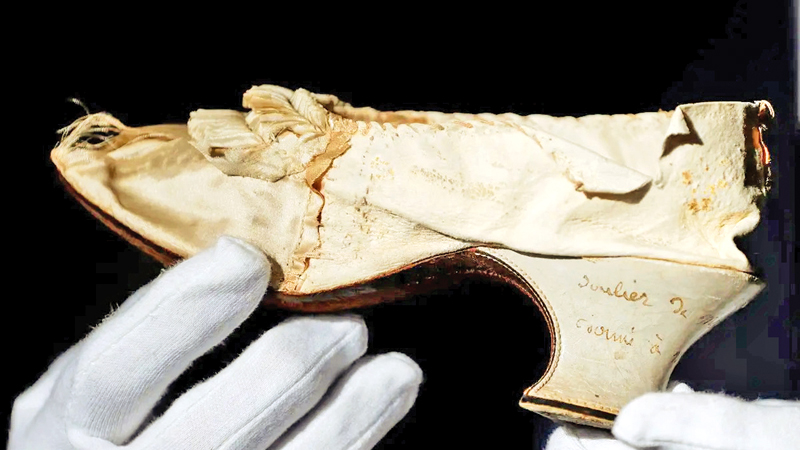 A shoe that belonged to late French Queen Marie-Antoinette displayed at the Osenat auction house in Versailles, France on November 14, 2020.