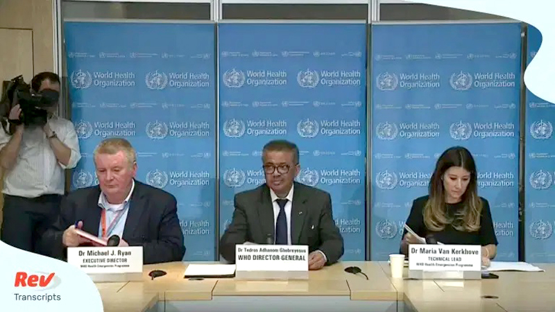 WHO Director-General Tedros Adhanom Ghebreyesus flanked by the Chief Executive Director of the WHO's Health Emergencies Programme Dr. Michael J Ryan (L) and WHO Technical Consultant Maria Van Kerkhove at Friday's press conference.