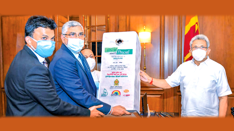 A special recycle bin prepared for the project was presented to President Gotabaya Rajapaksa at the official MoU signing event with the participation of Mahinda Amaraweera, Minister of Environment; Asitha Samaraweera, Managing Director, Atlas Axillia; and senior officers of the Ministry of Environment.