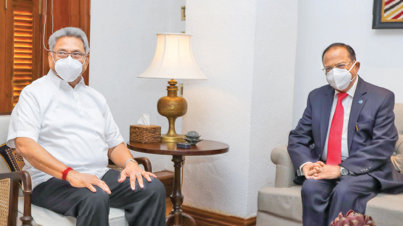 National Security Advisor of India Ajit Doval called on President Gotabaya Rajapaksa at the Presidential Secretariat on Saturday evening. Picture courtesy President's Media Division
