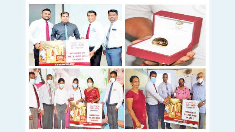The winner of Rs 1 million in gold (above), and two winners of Rs 250,000 each in gold from Ceylinco Life. Five more draws are to be conducted in 2021, culminating in Rs 30 million in gold being gifted to the Company's policyholders.