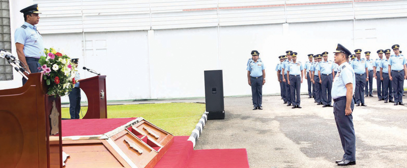Air Force Commander Air Marshal Sudarshana Pathirana taking part in the New Year celebrations at the SLAF Headquarters. Picture courtesy: Air Force Media Unit.