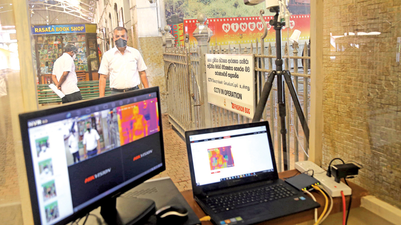 Thermal scanners at the Fort Railway Station, Colombo