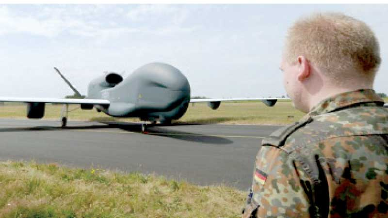 The drone 'Euro Hawk' stands on the airfield of the  reconnaissance squadron 51 'Immelmann' in Jagel, Germany.