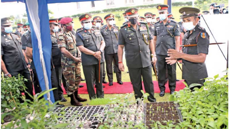 Army Commander General Shavendra Silva inspecting an agro-unit at the new Corp. Picture by Rukmal Gamage