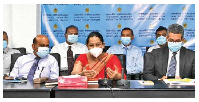 Health Minister Pavithra Wanniarachchi speaking at the COVID-19 Virus Control Performance Action Review Committee meeting yesterday.