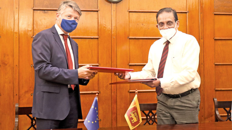 EU Ambassador to Sri Lanka Denis Chaibi with  Treasury Secretary S.R. Attygalle