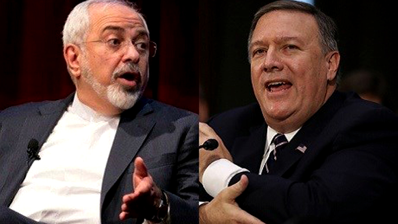 Iranian Foreign Minister Mohammad Javad Zarif (L) and US Secretary of State Mike Pompeo.
