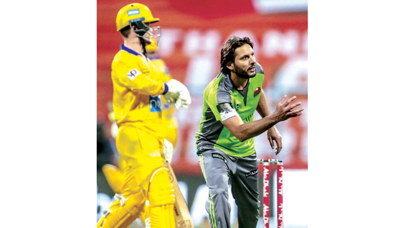 Shahid Afridi took two for 16 for Qalanders