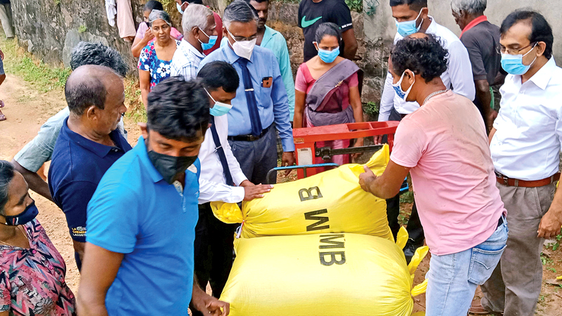 PMB officials buying paddy harvest. Picture by Mahinda P. LIyanage