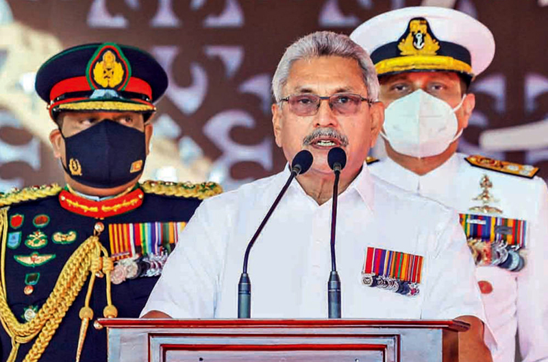 President Gotabaya Rajapaksa addressing the Nation at the 73rd Independence Day Celebrations held at the Independence Square yesterday.  Pictures by President's Media Division.