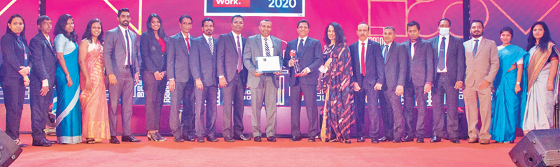 The Ceylon Biscuit Limited team at the awards ceremony, receives the Great Place to Work accolade