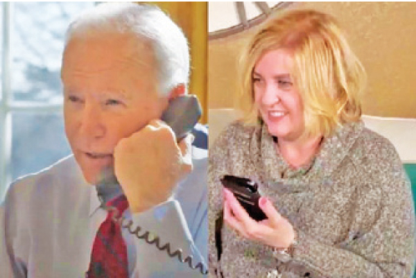 US President Joe Biden speaking via telephone from the Oval Office in Washington to Michele, a mother from Roseville, California who lost her job due to the pandemic.