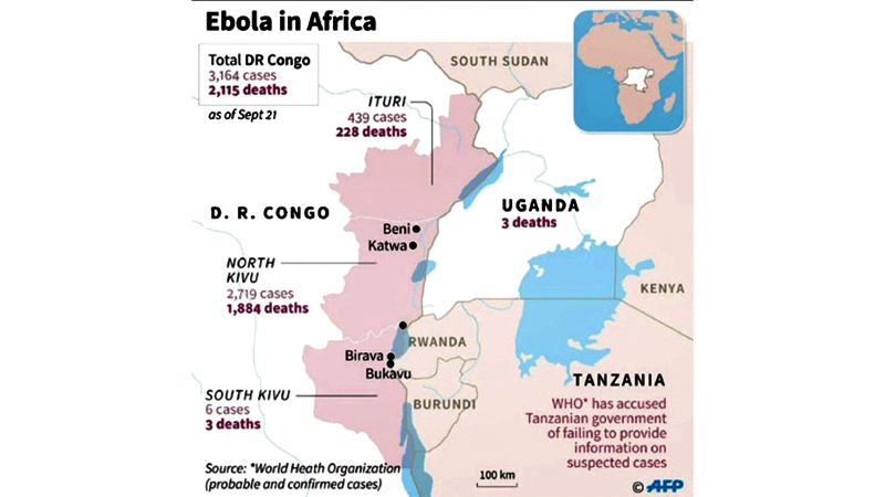 Map showing Ebola cases and deaths in DR Congo and neighbouring Uganda.- AFP