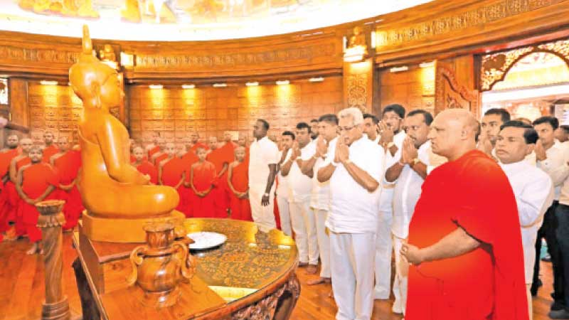 President Gotabaya Rajapaksa  participating in religious observances