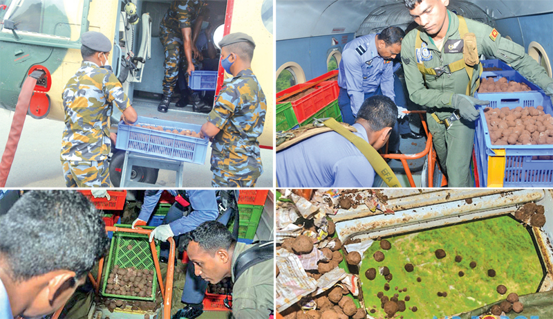One of the SLAF operations to drop seed bombs (Pictures courtesy: Air Force Media)