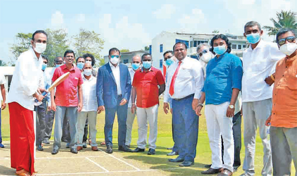 The Minister of Plantations Dr Ramesh Pathirana was the Chief Guest at   the opening of the Ambalangoda redeveloped ground. SLC President Shammi   Silva is also in the picture.