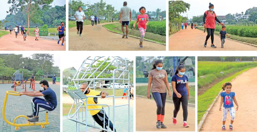 The walking path in Battaramulla has attracted many health-conscious people from different areas
