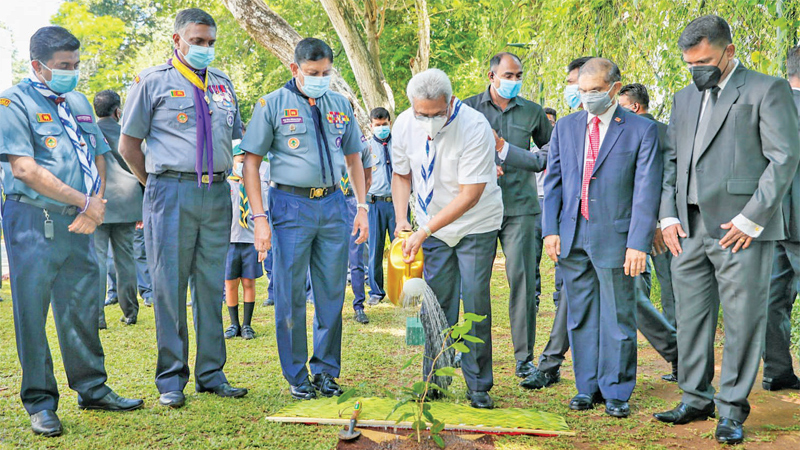 President Gotabaya Rajapaksa launches the National Scouts Movement's project to plant 100,000 trees, at the President's House premises in Colombo yesterday. Chief Commissioner of Sri Lanka Scout Association Major Gen. Milinda Peiris was also present. Picture courtesy President's Media Division