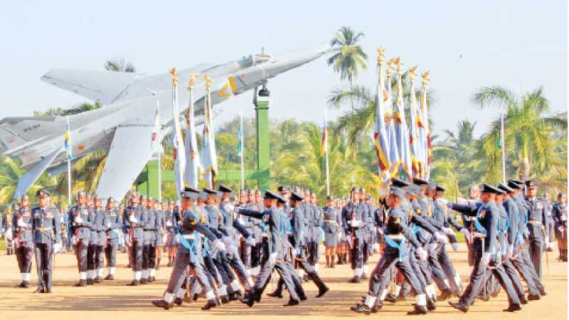 The march past held at the SLAF Base in Katunayake to mark the 70th anniversary of the Sri Lanka Air Force yesterday. Pictures by Kelum Liyanage.